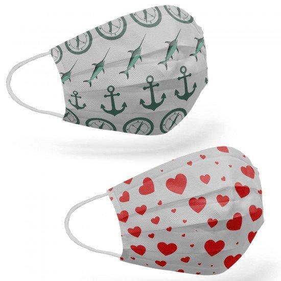 Tip2R Meltblown Korumalı Cerrahi Çocuk Maskesi - Denizci ve Kalp Desenli Karma Paket