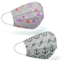 Tip2R Meltblown Korumalı Cerrahi Çocuk Maskesi - Denizci ve Yıldız Desenli Karma Paket