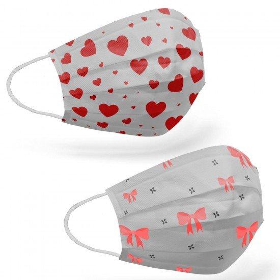 Tip2R Meltblown Korumalı Cerrahi Çocuk Maskesi - Fiyonk ve Kalp Desenli Karma Paket