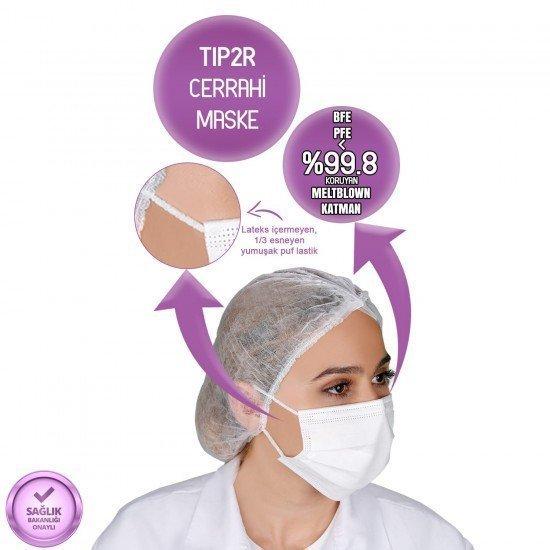 Yetişkin Cerrahi Maske - Beyaz - Tip2R Meltblown Katmanlı 50'li Kutu