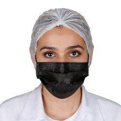 Yetişkin Cerrahi Maske - Siyah - Tip2R Meltblown Katmanlı 10'lu Sedef Poşet